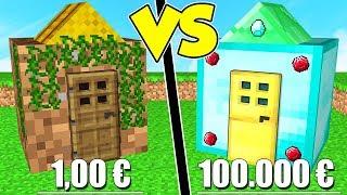 CASA DA 1€ contro CASA DA 100.000€ su MINECRAFT!