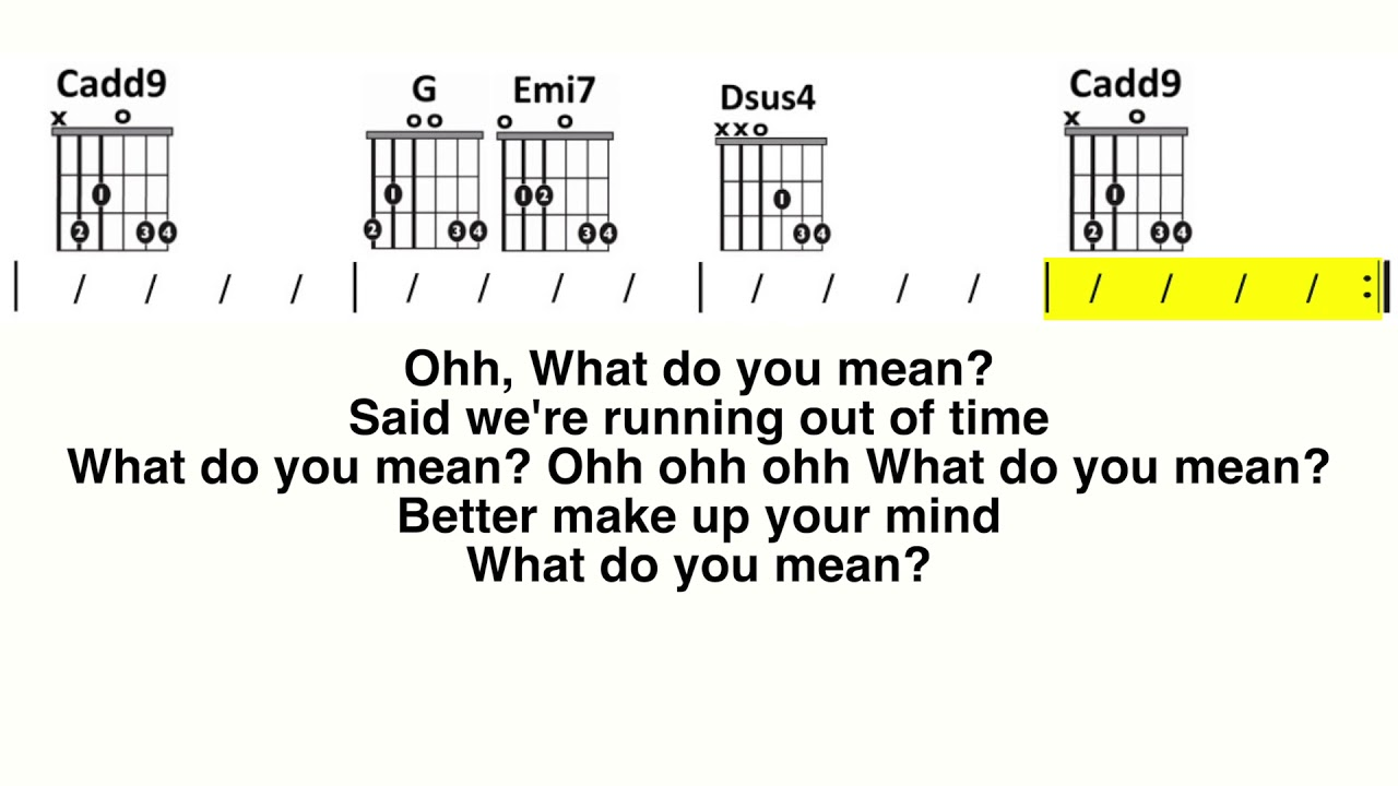 What Do You Mean Justin Bieber Guitar Chord and Lyric Play Along