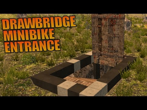 DRAWBRIDGE MINIBIKE ENTRANCE | 7 Days To Die | Let's Play Gameplay Alpha 16 | S16.4E33