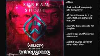 Scream & Shout - Will.i.am ft. Britney Spears (lyrics on screen)