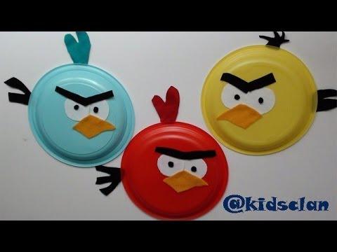 Angry birds con platos de pl stico manualidad infantil - Manualidades con tapones de plastico ...
