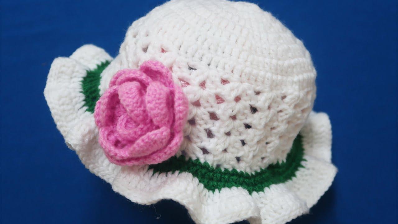 Hướng dẫn cách móc nón len nữ rộng vành đẹp – How to crochet hat tutorial