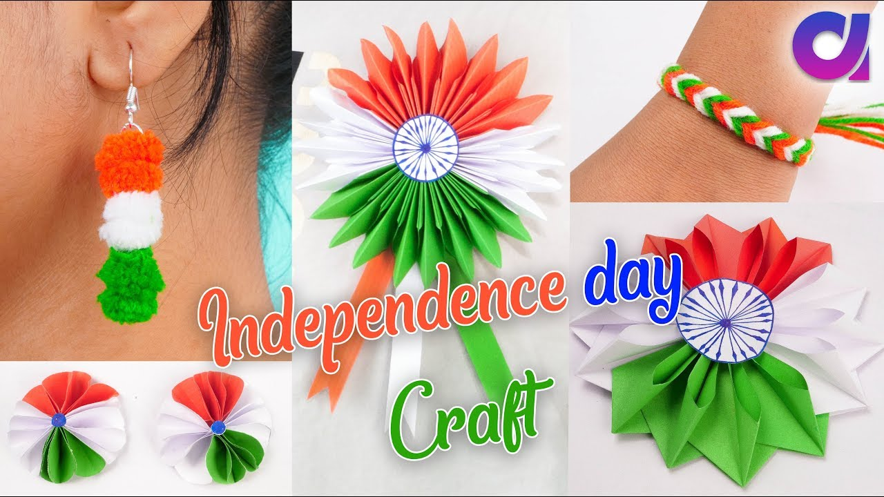 Craft For Flag Of India: Tricolour Paper Flower, Badge, Bracelates & Earring Craft