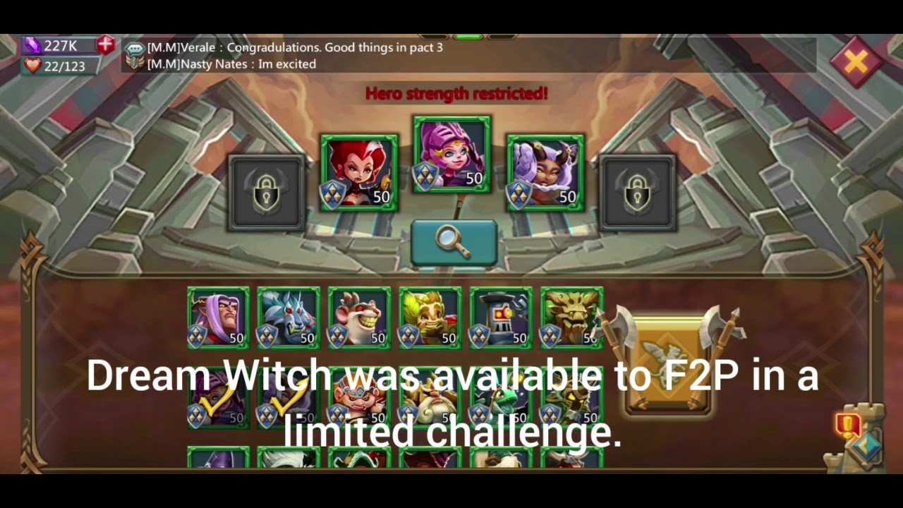 Lords Mobile Challenge 6-14 (First look at Dream Witch)