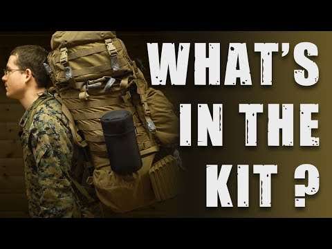 What's in the backpack of a US Marine on cold weather training?