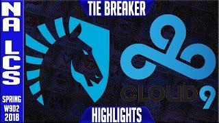 TL vs C9 TIE BREAKER Highlights | NA LCS Week 9 Spring 2018 W9D2 | Team Liquid vs Cloud 9