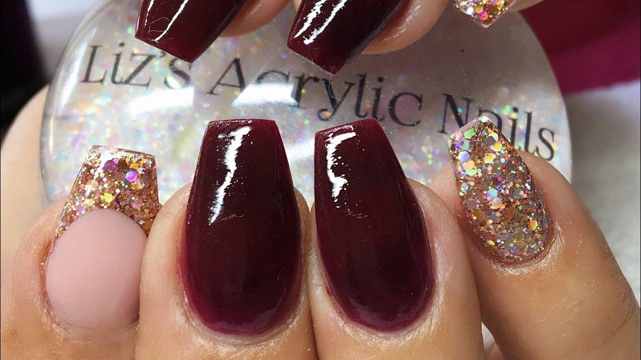 Acrylic Nails Burgundy Rose Gold Holo