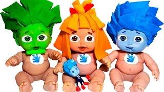 Куклы Пупсики СТАЛИ ФИКСИКИ Лепим МАСКИ из пластилина Плей До Пупсики в МАСКАХ Игры для девочек