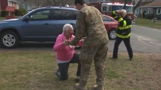 Soldier Returns Home Early, Surprises Mother