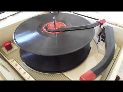 Emerson record player playing a couple 78 RPM records.