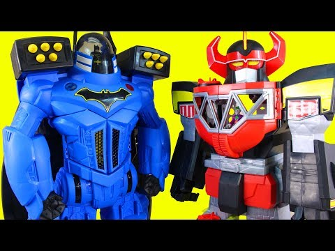 Imaginext Batbot Xtreme Robot Battles Power Rangers Megazord + Batman Joker Skatboard Dude Kids Toys