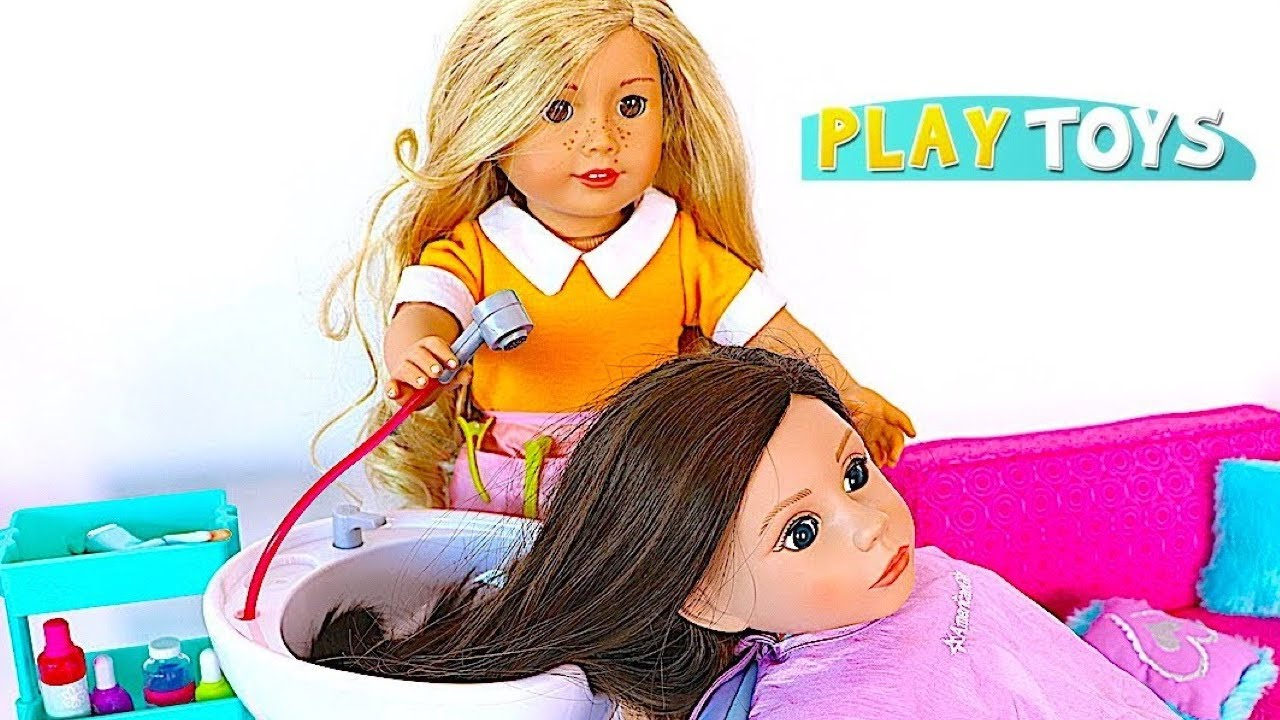 doll salon chair ikea ghost baby hair cut shop! play american girl spa & style toys ! - youtube