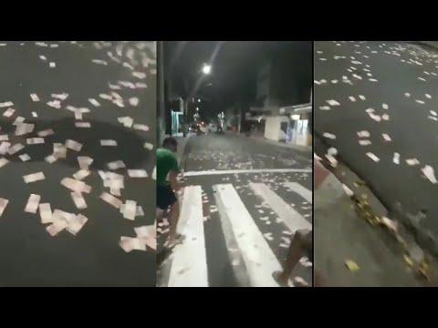 Brazil Money on Streets || Brazil Bank Robbery