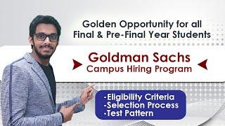 Goldman Sachs Engineers Campus Hiring Program For 2020 & 2021 Batch | Off Campus