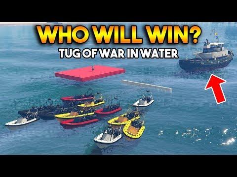 GTA 5 ONLINE : TUG OF WAR IN WATER (WHO WILL WIN?)