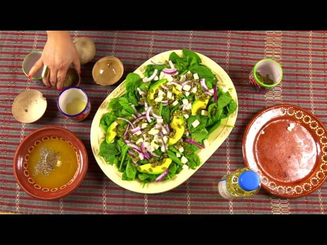 Mexican Spinach Salad with Mango Dressing