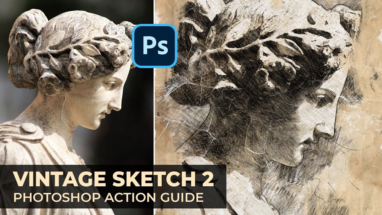 Vintage sketch 2 photoshop action guide