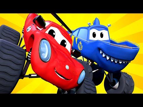 Monster Trucks for children - The MONSTER TRUCK SHARK Has Crashed in the MOUNTAIN! Monster Town
