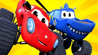 Monster Town - Marty the MONSTER TRUCK SHARK Has Crashed in the MOUNTAIN! | Monster Trucks Car City