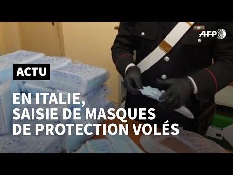 Coronavirus: saisie de masques de protection volés en Italie | AFP News