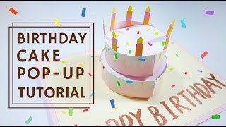 雙層蛋糕生日卡片教學(附立體蛋糕版型), How to make birthday cake pop-up card tutorial