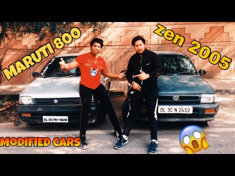 MY MODIFIED MARUTI 800 CAR COMPARE TO ZEN CAR 2005 MODEL | PROJECTER HEADLAMPS | BASS TUBE REVIEW