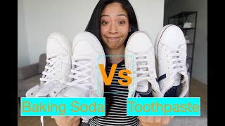 Cleaning WHITE SHOES ... Toothpaste Vs Baking Soda