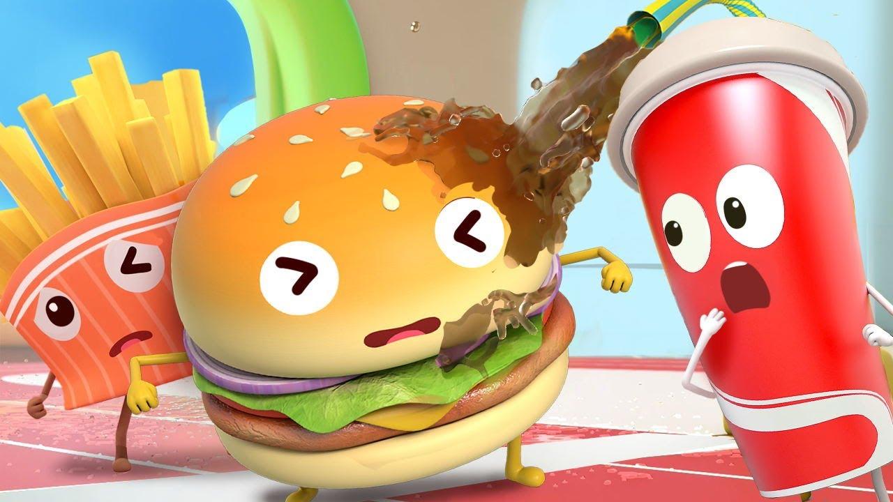 Hamburger and Burping Cola | Yummy Foods Animation | Kids Cartoon | Nursery Rhymes | BabyBus
