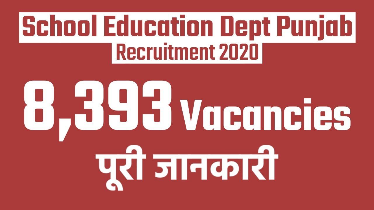 School Education Dept Punjab Recruitment 2020: 8,393 Vacancies for Pre Primary Teacher- Watch Video