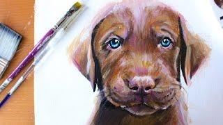 Painting: Cute Chocolate Labrador Retriever Puppy | RACHEL RIE