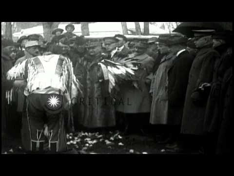 Marshal Foch welcomed in the United States by Native American Indians in traditio...HD Stock Footage