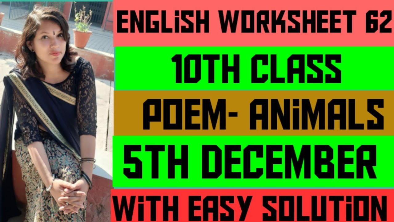 small resolution of 10th class English worksheet 62 (5 December) Poem - Animals - YouTube