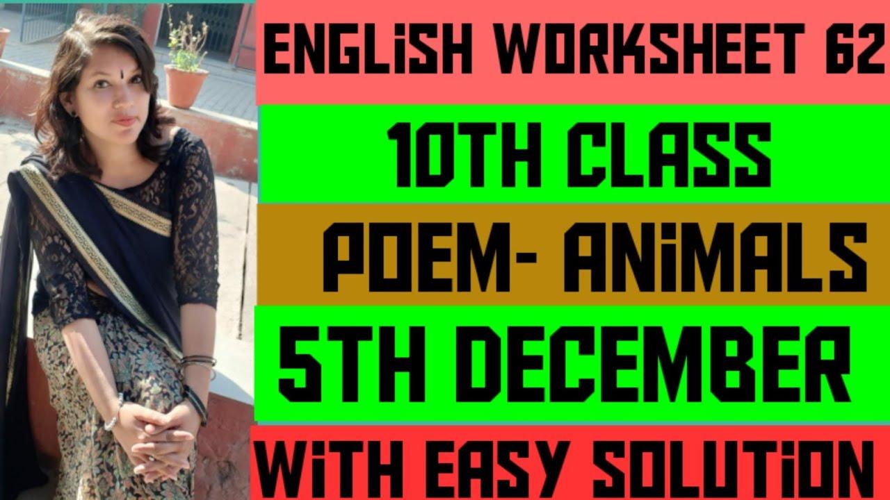 medium resolution of 10th class English worksheet 62 (5 December) Poem - Animals - YouTube