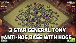 Clash of Clans - 3 STAR GENERAL TONY'S ANTI HOG BASE WITH HOGS | MisterClash