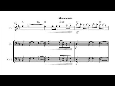 Metallica's Fade To Black. Classical cover for 4 Cellos and Flute. Sheet music