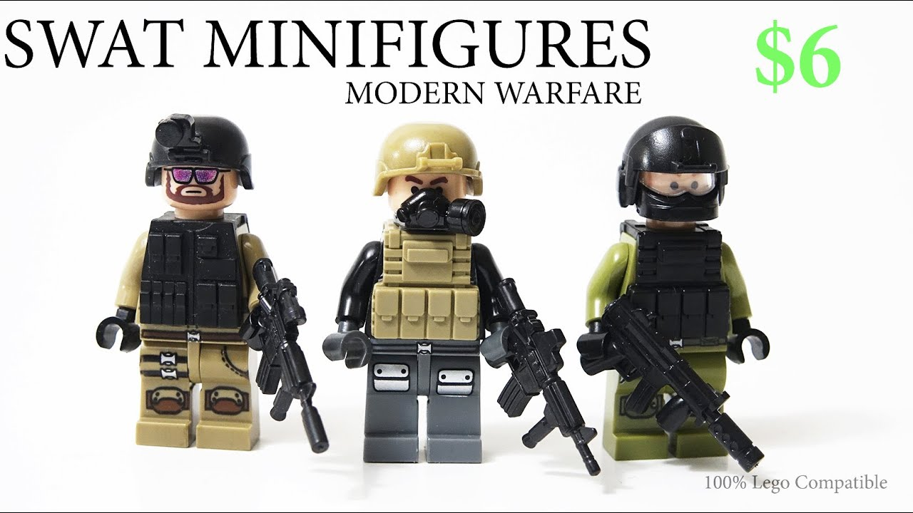 Lego Modern Warfare Swat Team Army Minifigure Toy W