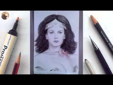 Lynda Carter Wonder Woman miniature portrait timelapse animation
