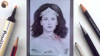 Lynda Carter Wonder Woman miniature portrait timelapse animation