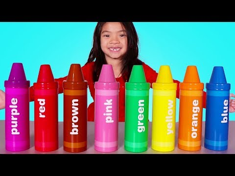 Emma Plays with Big Crayon Toys Fun Learn Colors Video for Kids