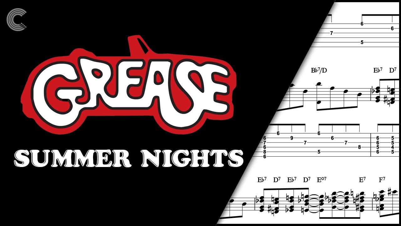 Guitar Summer Nights Grease Sheet Music Chords Vocals