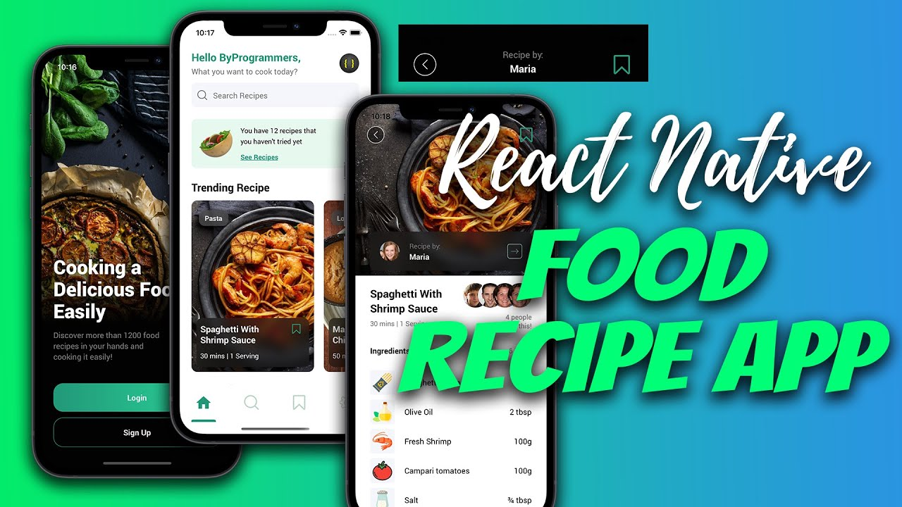 LCRN EP15 - Food Recipe App - React Native UI | Scrollable Header Animation
