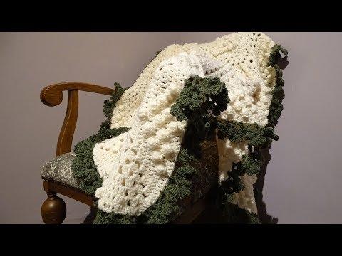Crochet Popcorn Motif Square Blanket with Flower Border