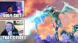 NICKMERCS & STREAMERS Reacts To *NEW* Dragon Frostwing Glider! *LEGENDARY* (Fortnite Moments)