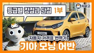 [가격표 번역] 기아 2021 모닝 어반 !! 등급별 …