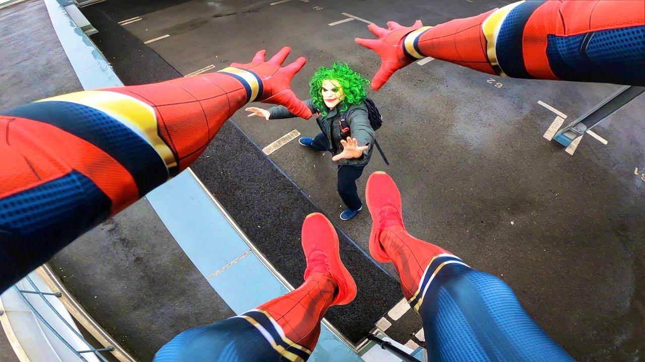 Spiderman Vs Joker Real Life Parkour Pov Youtube