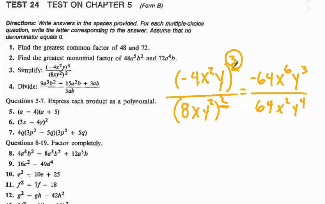 Algebra Chapter 5 Unit Test Form B 1 To 4