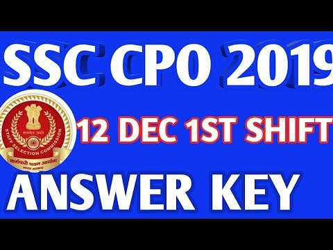 SSC CPO 2019 ANSWER KEY 12 DECEMBER 1 SHIFT/ SSC CPO ANSWER KEY 12 DECEMBER 2019 / CPO 2019 ANSWER K
