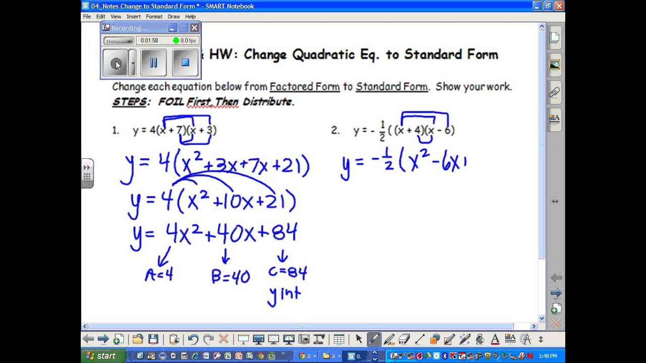 42b foil ab2 and a b2 how to change intercept form and changing to standard form falaconquin