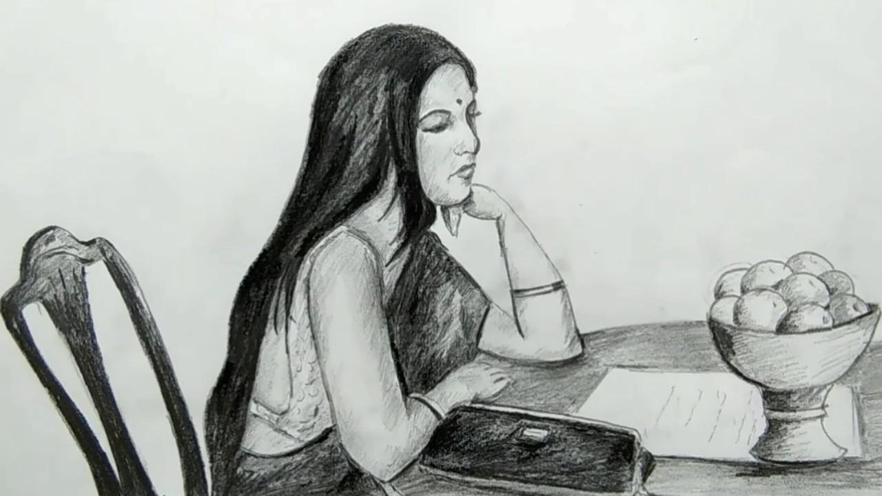 Draw a girl sitting alone