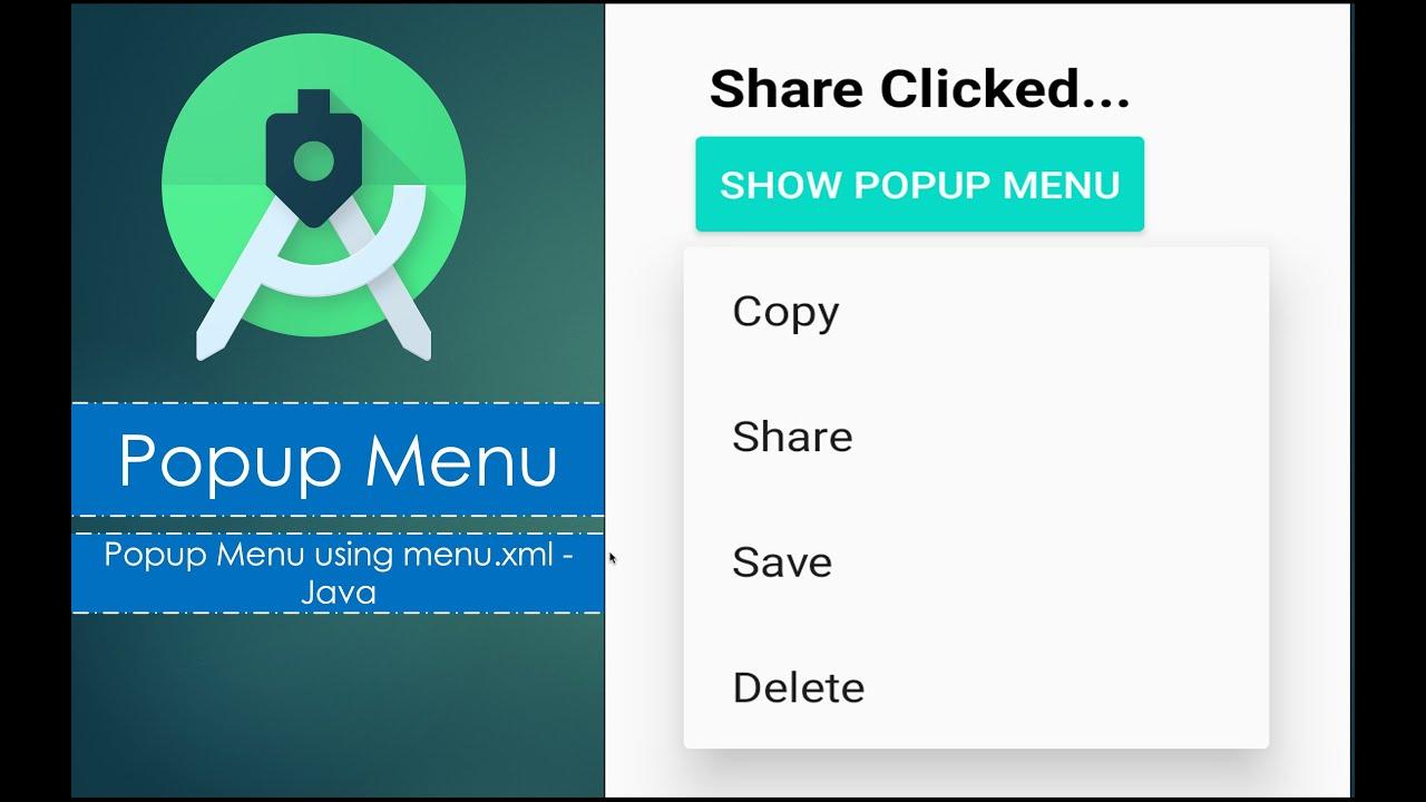 Popup Menu using menu.xml | Android Studio | Java
